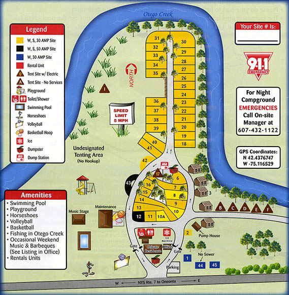 campground map for Susquehanna Trail Campground near Cooperstown NY