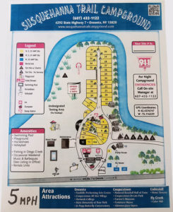 2019 campground map for susquehanna trail campground in oneonta ny